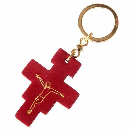 Portachiavi croce San Damiano cuoio s1