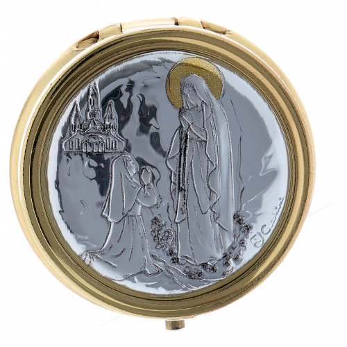 Portaostia in metallo Madonna di Lourdes placca alluminio 5 cm s1