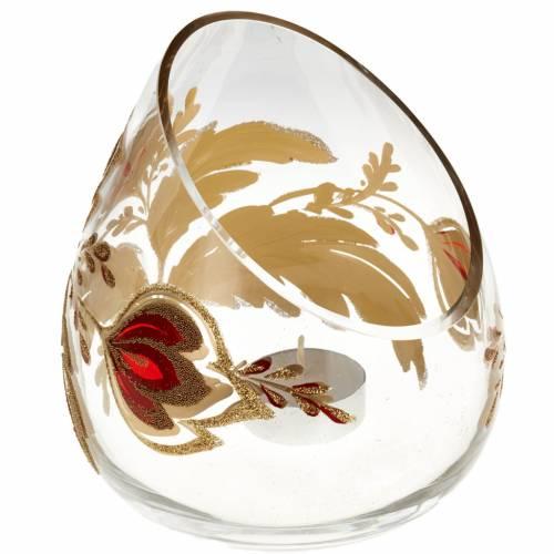 Porte bougie de Noel en verre décorations dorées s1