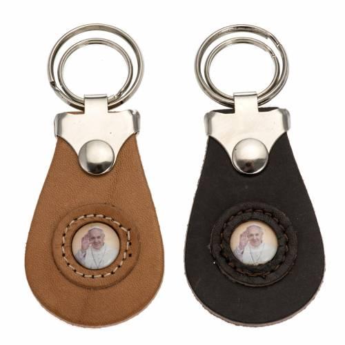 Porte clé cuir image Pape Francois s1