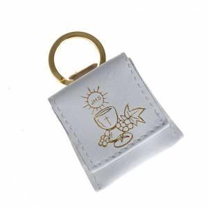 Porte-clés: Porte-clés cuir blanc calice raisins IHS