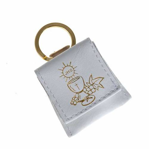 Porte-clés cuir blanc calice raisins IHS s1