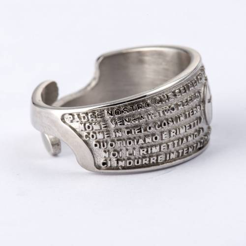 Prayer ring Our Father in rhodium-plated bronze s2