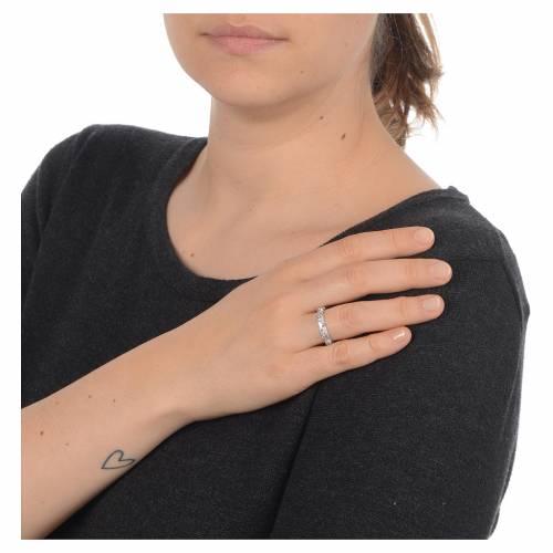 Prayer ring single decade in 800 silver and white zircon s2