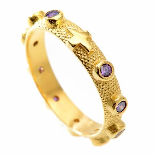 Prayer ring single decade in 800 silver with purple zircon s1