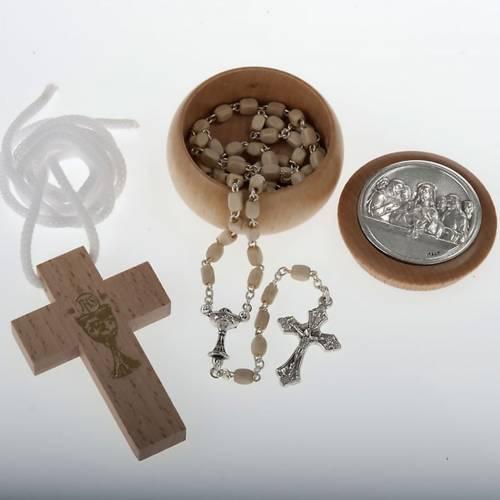 Première communion, set croix chapelet étui s1