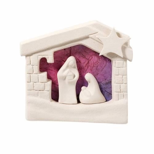 Presepe casetta Natale da parete argilla viola 13,5 cm s1