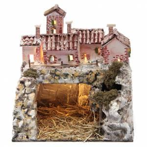 Capanne Presepe e Grotte: Presepe roccioso con 10 luci a batteria 25x25x20 cm