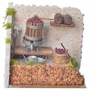 Pressoir à vin avec pompe miniatures crèche 20x14x20 cm s1