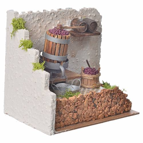 Pressoir à vin avec pompe miniatures crèche 20x14x20 cm s3
