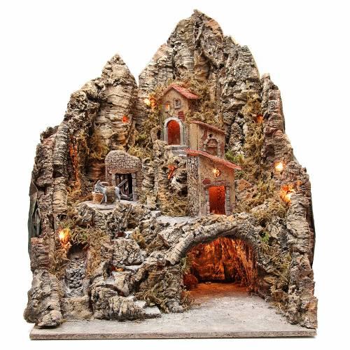 Pueblo iluminado con cueva y río para belén napolitano 68x64x56 cm s1