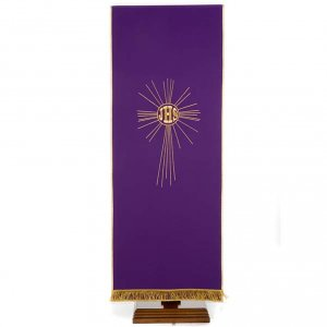 Pulpit cover with embroidered IHS and halo of rays s1