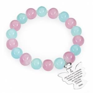 Pulsera AMEN perlas azul y rosado de Murano 10 mm. plata 925 s1