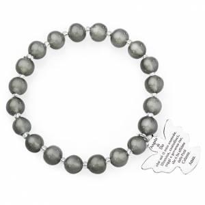 Pulseras AMEN: Pulsera AMEN perlas gris oscuro de Murano 8 mm. plata 925