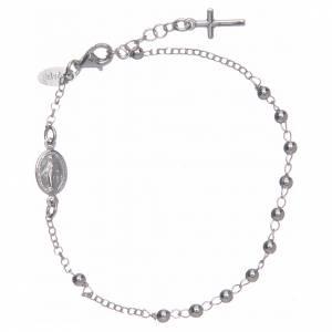 Pulseras AMEN: Pulsera rosario AMEN cruz charm plata 925 acabado Rodio