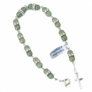 Pulseras de plata: Pulsera rosario Aventurina grano 6 mm plata 800