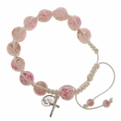 Pulsera rosario decena de perlitas rosadas y cordón 1