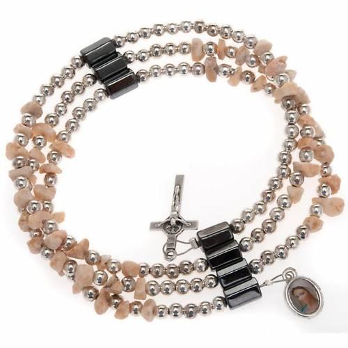 Pulsera rosario Medjugorje perlas blancas s1