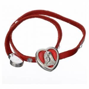 Pulsera Swarovski cuero rojo Virgen s2