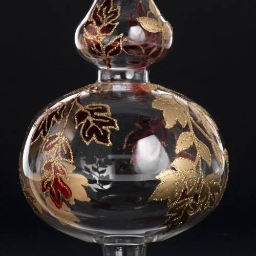 Puntale per albero Natale vetro soffiato rosso oro s5