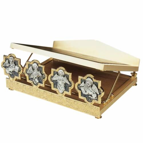 Pupitre de table 4 évangiles, doré argenté s1