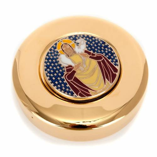 Pyx for big hosts with enameled Good Shepherd image s1