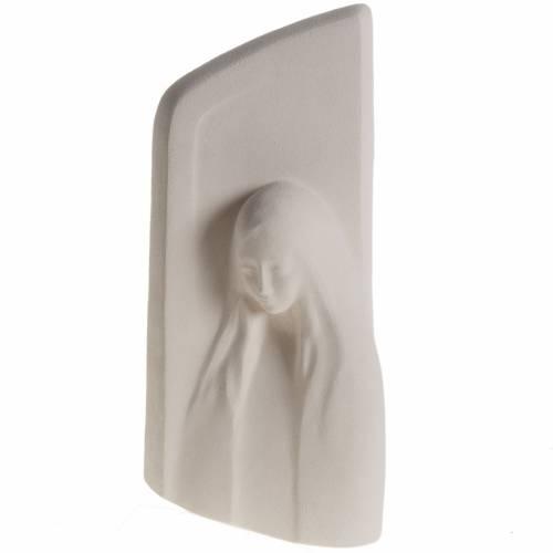 Quadro argilla bianca Madonna dell'Ascolto 31 cm s1