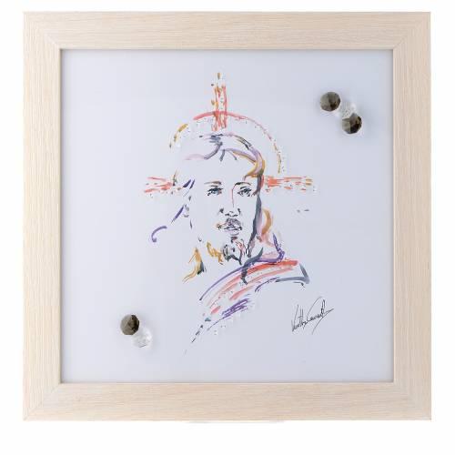 Quadro Cristo Speranza stampa acquarello 27X27 cm s1