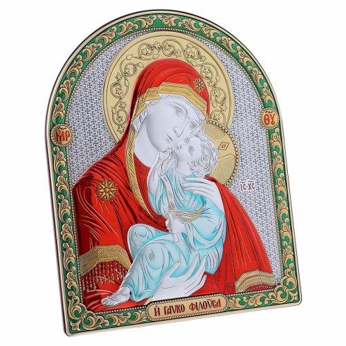 Quadro bilaminato retro legno pregiato finiture oro madonna Vladimir rossa 24,5X20 cm s2