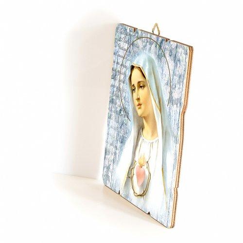 Quadro in Legno Sagomato gancio retro della Madonna Fatima 35x30 s2