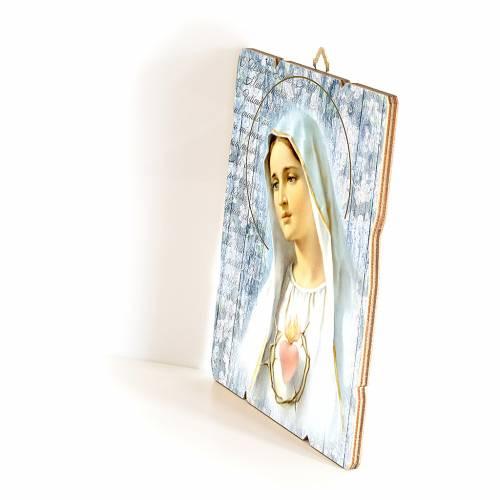 Quadro in Legno Sagomato gancio retro Madonna Fatima 35x30 s2