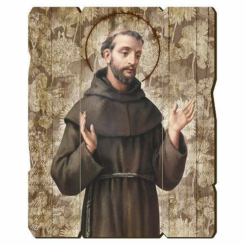 Quadro in Legno Sagomato gancio retro San Francesco d'Assisi 35x30 s1