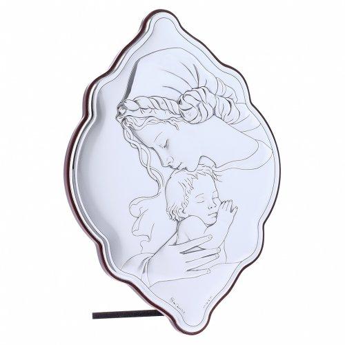 Quadro Madonna e Bambino in bilaminato con retro in legno pregiato 21X14 cm s2