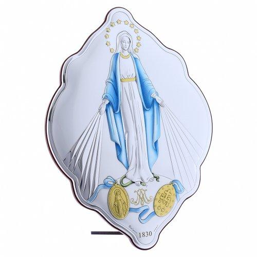 Quadro ovale ricamato bilaminato con retro legno pregiato Madonna Immacolata 31X21 s2