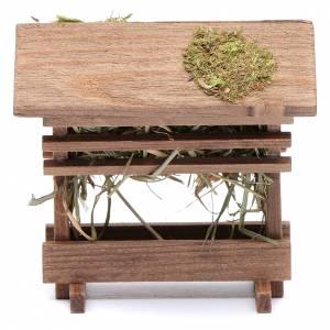 Muschio, licheni, piante, pavimentazioni: Rastrelliera con fieno adatta a statuina di 12 cm