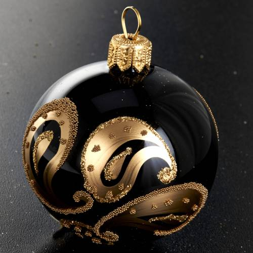 Árbol Navidad, bola de vidrio negro decoraciones doradas s2