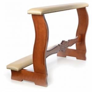 Ambones, reclinatorios, mobiliario religioso: Reclinatorio de esposos madera nogal terciopelo marfil