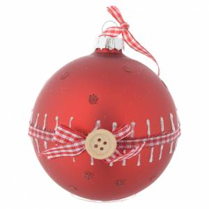 Christmas balls: Red Christmas tree bauble in glass 80mm