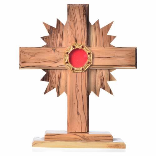 Relicario olivo cruz y rayos 20cm, custodia octagonal plata s1