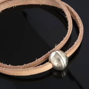 Religious bracelet in leather with zamak sphere lenght 39 cm s6