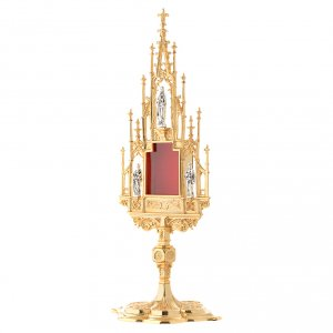 Reliquary, Gothic style in cast brass H51cm s3