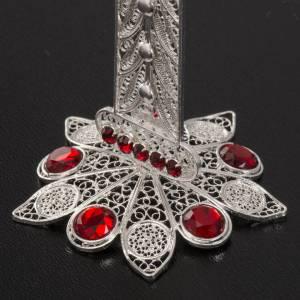 Reliquiario croce filigrana argento 800 strass h 11 cm s4