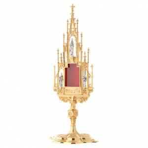 Reliquiario stile gotico ottone fuso h 51 cm s3