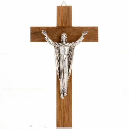 Resurrected Christ, walnut wood cross s1