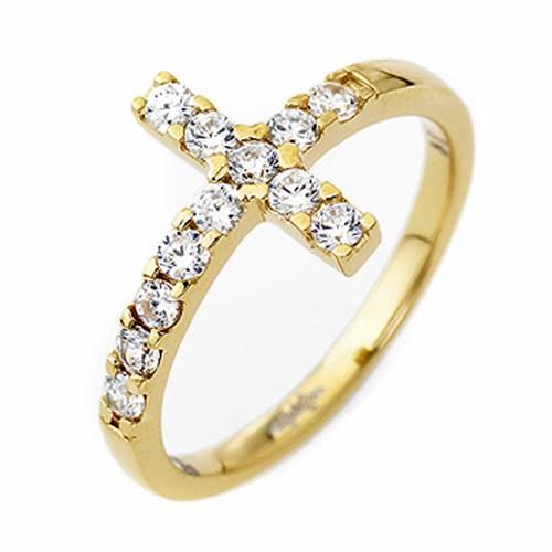 Ring AMEN Cross gilded silver 925, white zircons s1