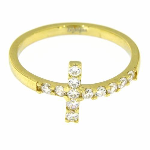 Ring AMEN Cross gilded silver 925, white zircons s5