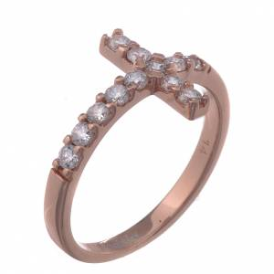 Ring AMEN Cross rosè silver 925, white zircons s1