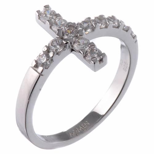 Ring AMEN Cross white silver 925, white zircons s2