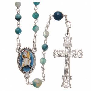 Rosarios de Plata: STOCK Rosario ágata brasileña Papa francisco plata 925 4 mm celeste