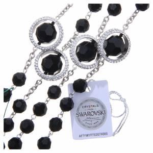 Rosario argento 800 cristallo Swarovski nero 8 mm s3